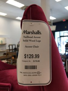 Marshalls TJ Max Homegoods furniture pink chair suede