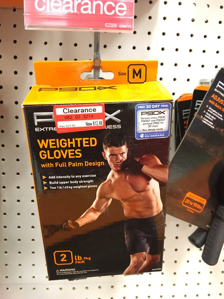 Weighted gloves, target clearance
